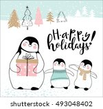 hand drawn christmas card with... | Shutterstock .eps vector #493048402