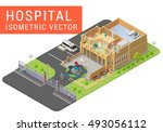 isometric vector hospital with... | Shutterstock .eps vector #493056112