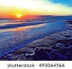 sunset by seaside digital...   Shutterstock . vector #493064566
