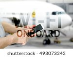wifi onboard concept. wi fi on... | Shutterstock . vector #493073242