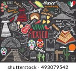mexico hand drawn sketch set... | Shutterstock . vector #493079542