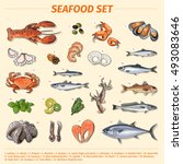 seafood vector collection. set... | Shutterstock .eps vector #493083646
