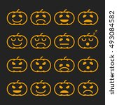 set of linear orange pumkin... | Shutterstock .eps vector #493084582