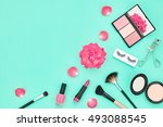fashion pink cosmetic makeup.... | Shutterstock . vector #493088545