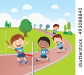running competition. marathon... | Shutterstock .eps vector #493088842
