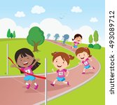 running race. vector... | Shutterstock .eps vector #493089712