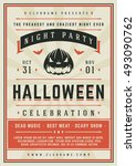 halloween night party poster...   Shutterstock .eps vector #493090762