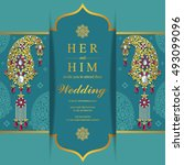 wedding invitation or card with ...   Shutterstock .eps vector #493099096