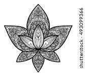 hand drawn lotus tattoo. floral ... | Shutterstock .eps vector #493099366