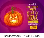 happy halloween party... | Shutterstock .eps vector #493110436
