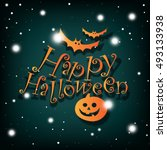 happy halloween poster  card... | Shutterstock .eps vector #493133938