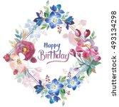 wildflower rose flower frame in ... | Shutterstock . vector #493134298
