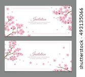 sakura flowers invitation cards   Shutterstock .eps vector #493135066
