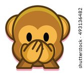 vector cartoon cute monkey face ... | Shutterstock .eps vector #493136482