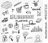 business idea doodles icons set.... | Shutterstock .eps vector #493137112