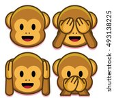vector emoji monkeys set... | Shutterstock .eps vector #493138225