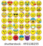 vector set of different emojis... | Shutterstock .eps vector #493138255
