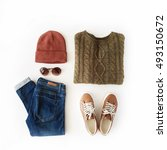 woman autumn and winter clothes ... | Shutterstock . vector #493150672