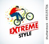 extreme style  bmx cyclist t... | Shutterstock .eps vector #493155706