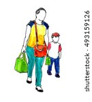 mother and son walking free... | Shutterstock . vector #493159126