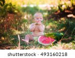 small child with watermelon... | Shutterstock . vector #493160218