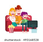 family watching tv with popcorn ... | Shutterstock .eps vector #493168528