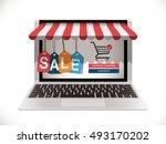 online shopping concept | Shutterstock .eps vector #493170202