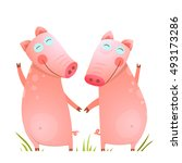 baby small pigs cute friends... | Shutterstock .eps vector #493173286