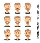 set of male emoji characters.... | Shutterstock .eps vector #493184806