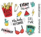 feminism slogan and patches.... | Shutterstock .eps vector #493185892