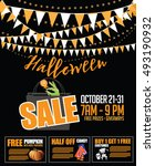 halloween sale bunting and... | Shutterstock . vector #493190932