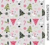 a snowman christmas seamless... | Shutterstock .eps vector #493192672