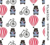 bear with bicycle and hot air... | Shutterstock .eps vector #493199716
