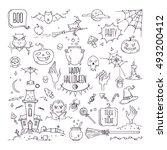 hand drawn halloween... | Shutterstock .eps vector #493200412