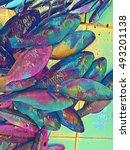 sea fish on market table... | Shutterstock . vector #493201138