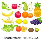 assorted fruits set ... | Shutterstock . vector #493212265