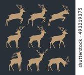 christmas reindeer silhouettes | Shutterstock .eps vector #493219375