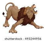 angry lion is roaring. vector... | Shutterstock .eps vector #493244956