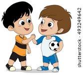 kids shake hand after football... | Shutterstock .eps vector #493249642