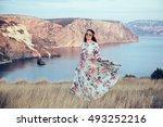 plus size model wearing floral... | Shutterstock . vector #493252216