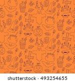 halloween background seamless...   Shutterstock .eps vector #493254655