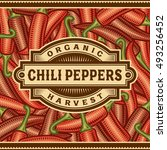 retro chili pepper harvest... | Shutterstock .eps vector #493256452