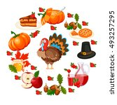 vector happy thanksgiving... | Shutterstock .eps vector #493257295