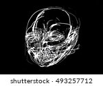 abstract face  portrait  sketch ... | Shutterstock . vector #493257712