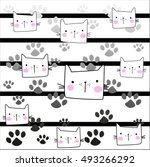 Stock vector cat pattern lines background vector illustration 493266292