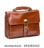 Small photo of modern brown leather men casual or business briefcase isolated on white background