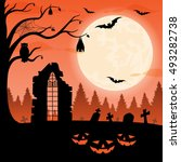 halloween party background with ... | Shutterstock . vector #493282738