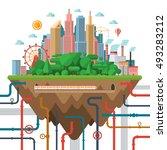 big city concept illustration... | Shutterstock . vector #493283212