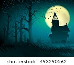 background of halloween scene... | Shutterstock .eps vector #493290562