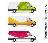 mockup white bus. set of design ... | Shutterstock .eps vector #493295272